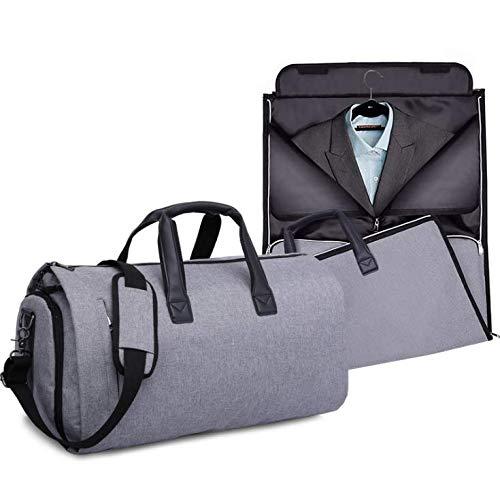 Bolsa Portatrajes Funda de Viaje para Traje Carry-On Garment Bag con Compartimentos para Zapatos y Correa Ajustable para Hombro (Gris)