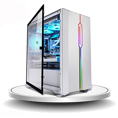 JF-TVQJ Caja Pc Gamer Caja para Computadora De Torre Media M-ATX/ITX Caja para Juegos para PC, Chasis Abierto, USB 3.0 - Panel Lateral De Vidrio Templado - Refrigeración por Agua