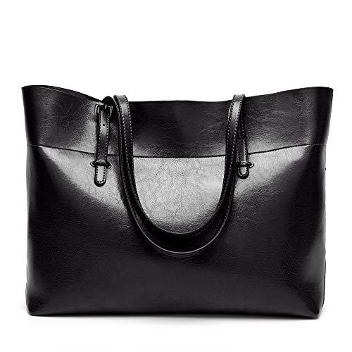 Womens Soft Leather Handbags Large Capacity Retro Vintage Top-Handle Casual Tote Bags Black 15.5-Inch No Shoulder Strap Design