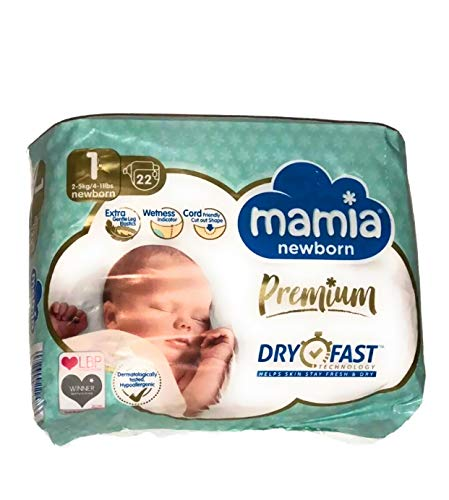 Premium ALDI Windeln Mamia für Neugeborene, Größe 1, (22 Windeln) Dry Fast Technologie