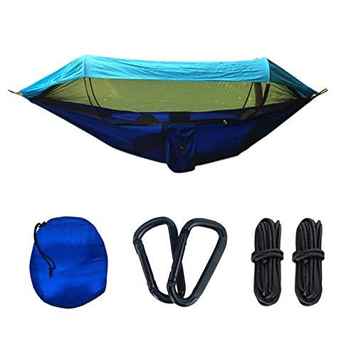 XKRSBS Hamaca, Doble Y Columpio De Nylon De Paracaídas Portátil Individual para Mochilero Viajes, Jardín Interior Camping Al Aire Libre,Azul,250x120cm