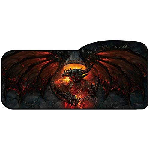 Large Gaming Mouse Pad Professional Curved Extended Size Waterproof Mousepad Computer Laptop Keyboard Desk Mat with Stitched Edges Anti Slip Rubber Base for Gamer School Office Home (Guardian Dragon)