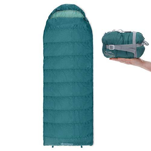Qeedo Sommer-Schlafsack Light Hitazo XL, kleines Packmaß (19 x 17 cm) / Deckenschlafsack extrem klein & leicht (745g) - türkis