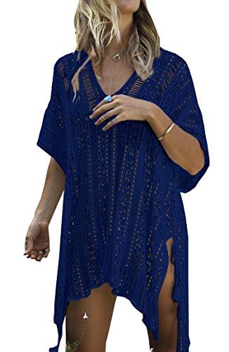 Wander Agio Beach Swimsuit for Women Sleeve Coverups Bikini Cover Up Net Slit Navy Blue,OneSize