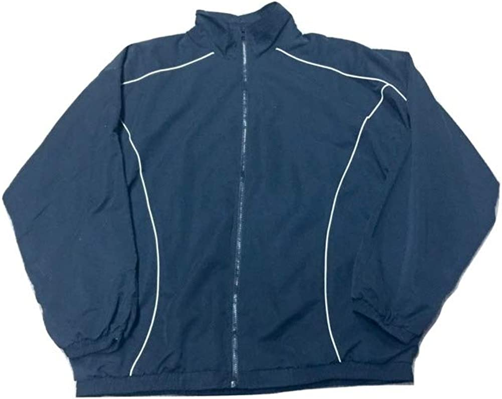 Big and Tall Breathable Microfiber Jogging Warm Up Track Jacket in Black with White Piping 2XLT