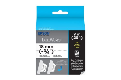 Epson LabelWorks Folder Tab LC Tape 3/4-Inch Black on White (LC-5WBD9)