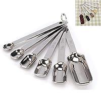 jingming - set di 6 cucchiai dosatori in acciaio inox con specchio rotondo e robusto, lucidato, 1/8 tsp, 1/2 tsp, 1 tsp, 1/2 tbls e 1 tbls
