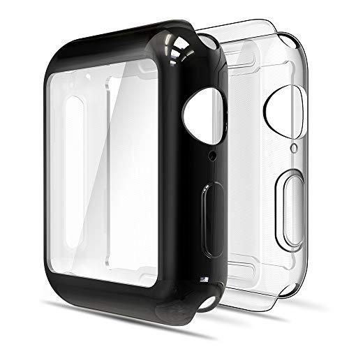 Simpeak 2-Stück Hülle Kompatibel mit Apple Watch 38mm Series 3/2 [2 Pcs], Schutzhülle Leicht Weiche Silikon Superdünne TPU Hülle Kompatibel für iWatch 38mm - Transparent+Schwarz