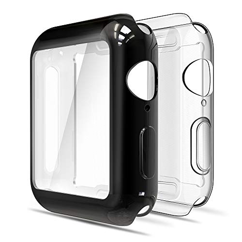 Simpeak Cover Compatibile per iWatch 38mm Series 2 3(Confezione da 2), Custodia Compatibile per iWatch Full Protettivo TPU Caso 38mm, Transparent+Nero