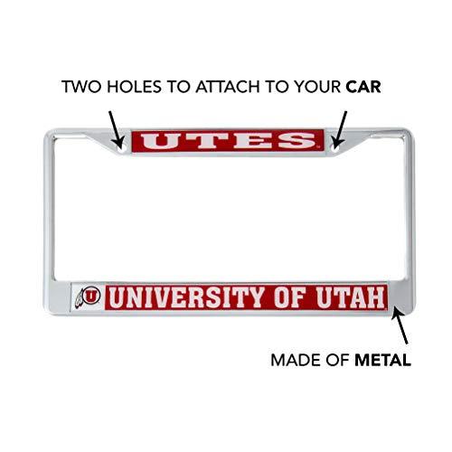 Craftique Mascot Desert Cactus University of Utah Utes Metal License Plate Frame for Front Back of Car Officially Licensed