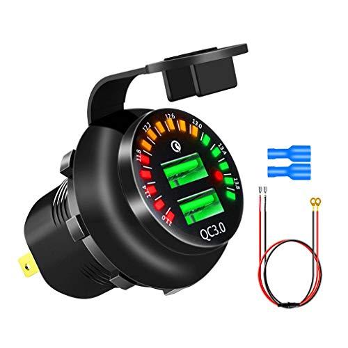 zrshygs Voltímetro LED Dual del zócalo del Cargador rápido del Coche de 12V QC3.0 USB para el camión Marino del Barco