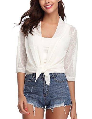 iClosam Damen Bolero Sommer Kurz Cardigan Strickjacke 3/4 Ärmel Elegant Blazer top. (#Weiß, Large)