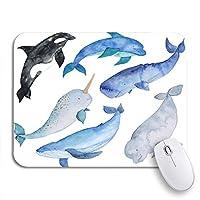 ROSECNY 可愛いマウスパッド クジラ海の動物イルカイッカクキラーベルーガオーシャンブルーノンスリップゴムバッキングマウスパッドノートブックコンピュータマウスマット
