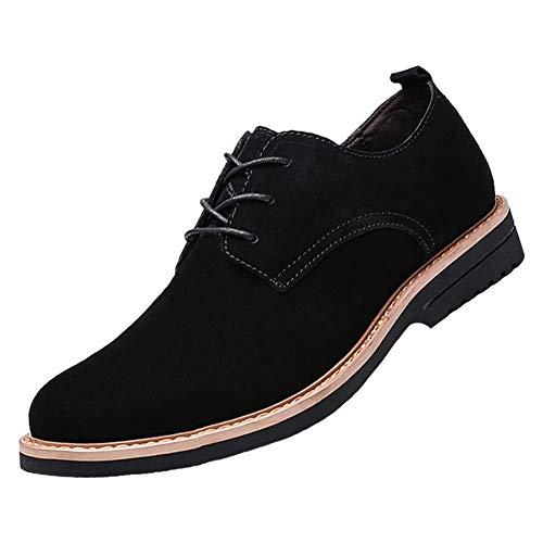 [BERLIFOOTWEAR] レースアップシューズ メンズ 本革 スエードシューズ カジュアルシューズ 紳士靴 通勤用 ブラック 25.5CM