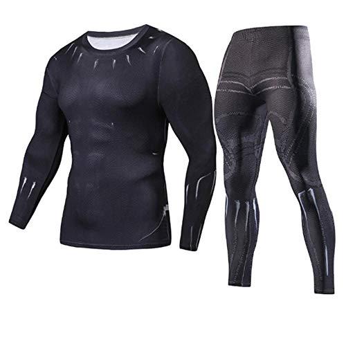 SHYSBV Heren thermisch ondergoed Mannen Sets Compressie Mode T-Shirt Fitness Tracksuit 3D Gedrukt Lange Mouw T Shirt Track Suit