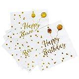 iZoeL Tovaglioli Compleanno Bianca Carta, 50 Oro Happy Birthday Palloncini, 3 Strati, Adulti Bambini Tovaglioli di Carta da Festa