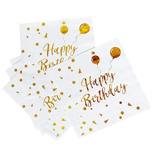 iZoeL 50Stk Geburtstag Servietten Gold Happy Birthday Servietten 33x33cm 3-lagig Pink Papierservietten für Mann Frau Mädchen Party Deko (Gold Happy Birthday)