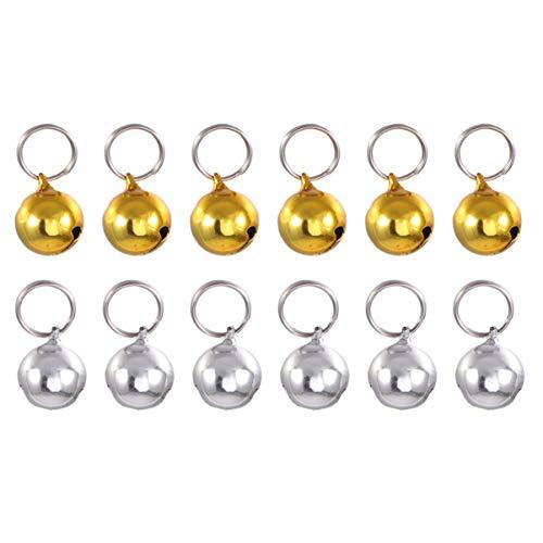 Balacoo 12 campanas para perro y gato, con llavero, salvar a los pájaros y la vida silvestre para collares y collares (oro y plata) 18 mm