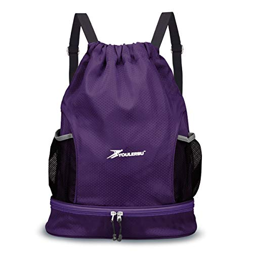 YOULERBU Drawstring Backpack Bag with Shoe and Wet Compartment Sports Gym Swim Beach Bag Purple