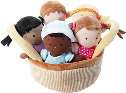 """Snuggle Stuffs Basket of Buddies 8"""" Plush Diversity Dolls - Set of 5"""
