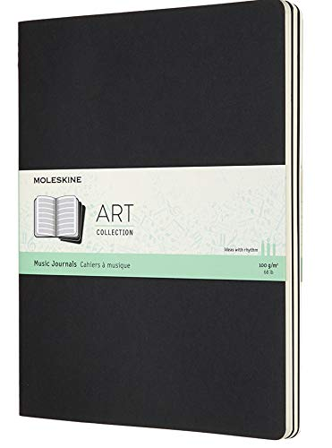 Moleskine Art Cahier Music Notebook Set 3 Quaderni Musica con Pentagramma, Adatto a Penne, Stilografiche, Matite, Pastelli, Colore Nero, XL 19 x 25 cm, 80 Pagine
