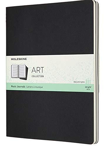 Moleskine MusiK Notizbuch und Cahier (Set mit 3 Musikbüchern mit Pentagramm, geeignet für Stifte, Füllfederhalter, Pastelle, XL 19 x 25 cm, 80 Seiten) schwarz
