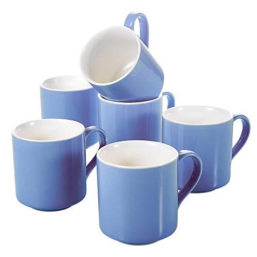 Panbado, Kaffeetassen aus Porzellan, Teetassen, Kaffeeservice, Kaffeetasse, Kaffeebecher Blau Farbe, Größe 370 ml, 9,3 cm Höhe, Spülmaschine & Mikrowelle geeignet