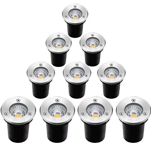 ELEGLO Led Landscape Lights 10 Pack 5W Well Lights,12V/24V Low Voltage Landscape Lighting,IP67 Waterproof In-Ground Lights for Garden,Yard, Driveway, Deck, Step Up Lights(Warm White NO Connector)