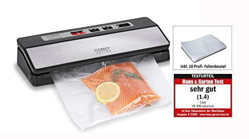 CASO VR 390 advanced Vakuumierer - Folienschweißgerät, verlängern Sie die Halbtbarkeit Ihrer Lebensmittel, Vakuumiergerät ideal zum portionieren & aufbewahren von Essen, inkl. 10 Profi- Folienbeutel