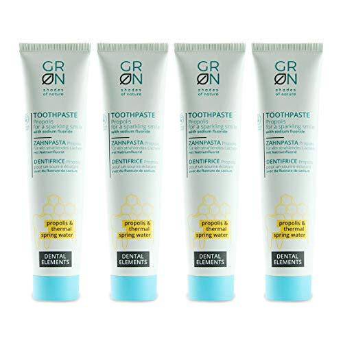 GRN Organic Toothpaste Propolis (4x75ml) vegane Zahncreme, Naturkosmetik, mit Fluorid