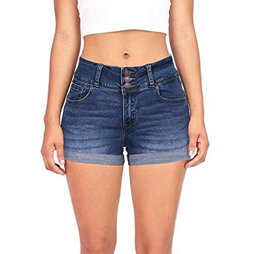 Shorts Damen Sommer Jeans Low Waist Gewaschen Zerrissen Loch Solide Denim Hose