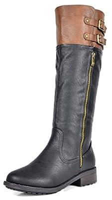 DREAM PAIRS Women's New Bradenn Black Camel Knee High Double Buckles Zipper Boots Size 9.5 B(M) US by