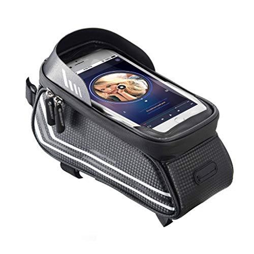 alforjas bicicleta La bolsa bolso de la bicicleta de la viga frontal superior del bolso del tubo de Montaña bici del bolso de gran capacidad bolso del teléfono móvil compatible con el Teléfono móvil d