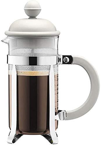 Tetera Prensa de café del pote de Cristal Appliance Mano ponche Pequeño Portable del Filtro pequeña Capacidad con Reutilizables Filtro Mallas (Color: Blanco, Tamaño: 350 ml), Tamaño: 350 ml, Color: