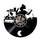 xcvbxcvb 1 Pieza Bon Appetit Cocina Chef Reloj de Pared Cocina Disco de Vinilo Reloj de Pared Tienda de horneado Reloj de Pared Decoración Regalo de inauguración de la casa