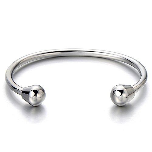 COOLSTEELANDBEYOND Elastische Verstellbare-Edelstahl Armband für Herren Damen Armreif Farbe Silber Poliert