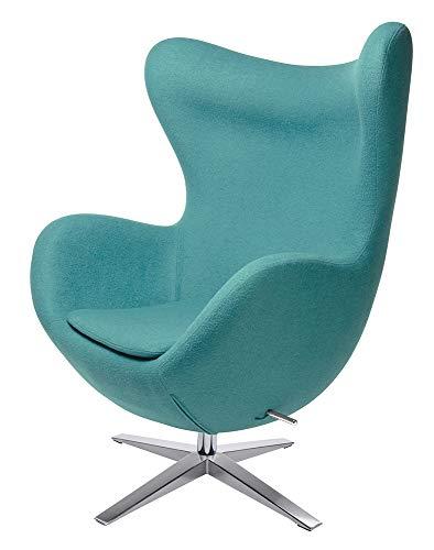furnigo   Designer Sessel in Ei Form, Reproduktion, Zeitlos, Viele Farben, Wollstoff (Türkis)