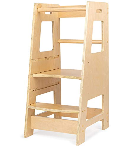 KidzWerks Kitchen Step Stool for Kids  Wooden Step Stool with Adjustable Platform  Toddler Tower Kitchen Step Stool for Kitchen Counter Learning