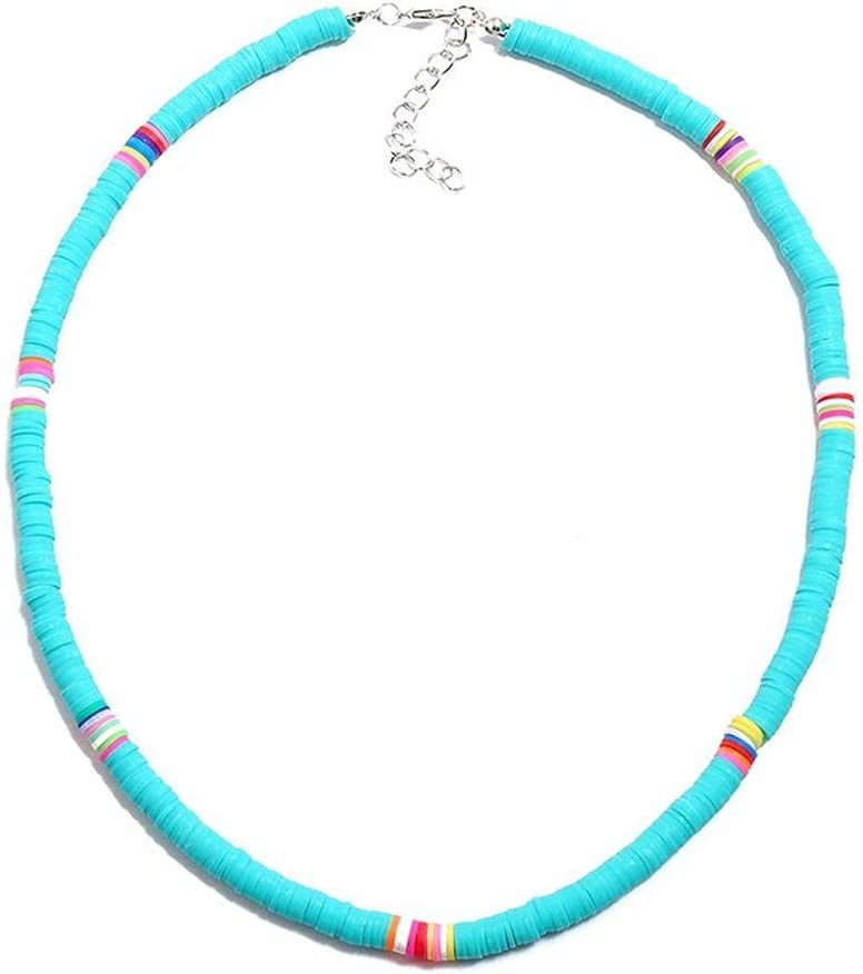 JIMITI Ethnic Personality Women Aolly Jewelry Gift Surfer Necklace Beads Collar Bohemian Necklace Beach Clavicle Chain Soft Pottery(Sky Blue)