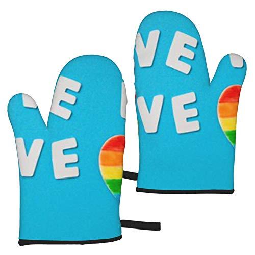 BONRI Guantes de microondas con símbolo de Rayas de Colores del Arco Iris LGBT Un Juego de 2 Manoplas de Horno, Resistentes al Calor, Ideales para Hornear, Asar a la Parrilla, Barbacoa