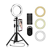 Ring Light with Tripod Stand Phone Selfie Kit - 8 inch LED Circle Lights for Makeup Blog YouTube Video Photo Camera Studio Lighting Work with iPhone iPad Tablet Android Phones