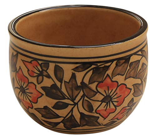 Today's Deals - abhandicrafts 3x4 Inch Handmade Brown Floral Pottery Ceramic Shaving Bowl for Men-Shaving Soap Cream Bowl For Shave/Portable Shaving Bowl Mug-Beautiful Gift for Dad,Grandpa