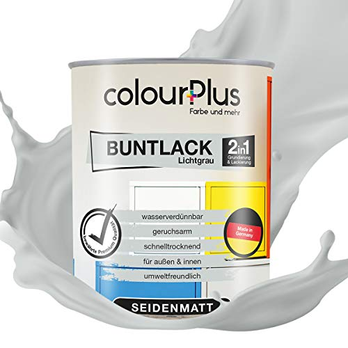 colourPlus® 2in1 Buntlack (750ml, RAL 7035 Lichtgrau) seidenmatter Acryllack - Lack für Kinderspielzeug - Farbe für Holz - Holzfarbe Innen - Made in Germany