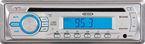Jensen Marine MCD5090 Stereo CD Player Receiver, 4X 40 Watts, AM/FM Tuner (US/Euro), Front AUX Input, Conformal Coated Circuit Board, UV and Water-Resistant, Euro-DIN Sleeve, 11-14.4 VDC (Renewed)