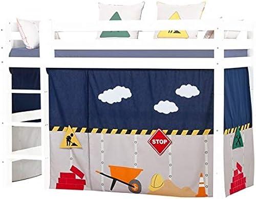 Hoppekids Construction Vorh e für Mittelhoches Bett, Baumwolle, Konstruktion, 90 x 200cm