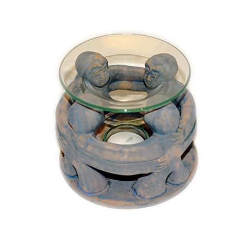 flora perpetua Thomas Kinkele e.K. Aromalampe Freundeskreis antikblau Skulptur aus Terracotta, mit Glasschale und Teelicht, 100x125mm Deko Geschenk Duft