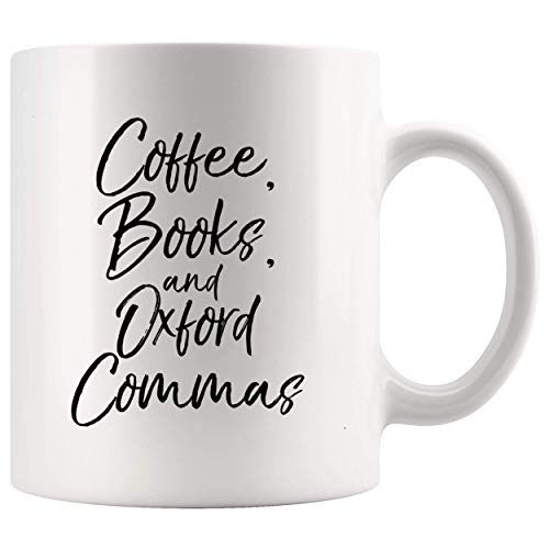 Cofffee Mug Coffee Books Camisa Oxford Commas para profesores de inglés