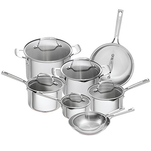 Emeril Lagasse 14 Piece Stainless Steel Cookware Set With Copper Core, Induction Compatible,...