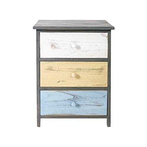 Rebecca Möbel Dressoir Vintage met 3 laden, Paulownia hout, grijs/beige/blauw/slaapkamer - afmetingen: 56 x 40 x 29 cm (hxbxd) - Art. RE4883.