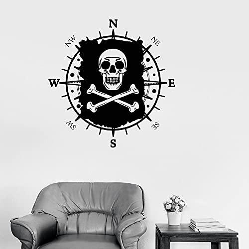 Schädel Piraten Karte Flagge Nautischen Kompass Navigation Logo Zeichen Vinyl Wandaufkleber Auto Aufkleber Jungen Kinder Kinderzimmer Schlafzimmer Büro Studio Wohnkultur Wandbild